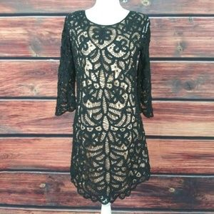 THE KOOPLES Dress Black Lace On Nude 3/4 sleeve 38